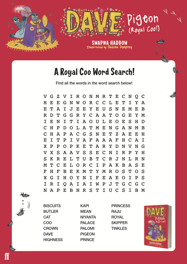 The Dave Pigeon (Royal Coo!) wordsearch