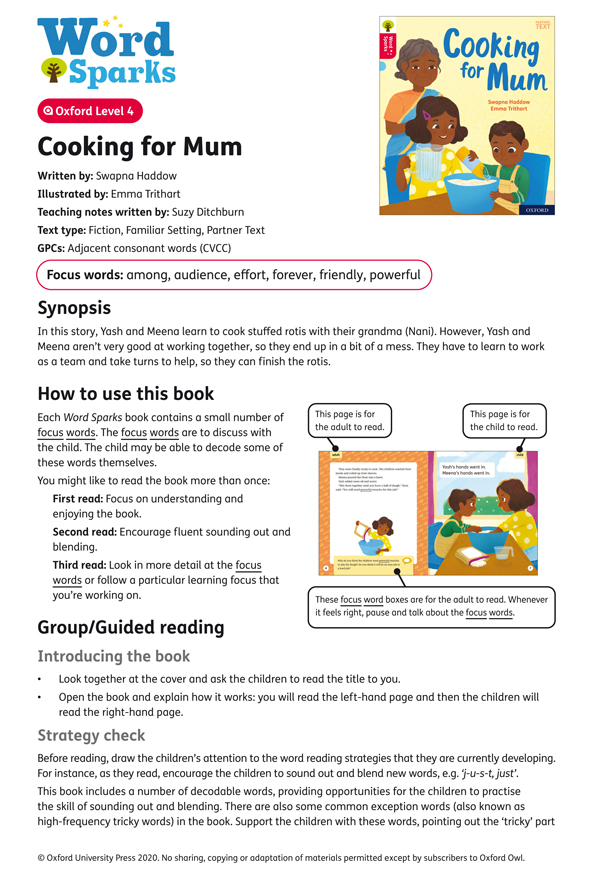 Cooking With Mum Reading Guide