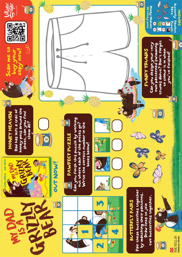 Grizzly Bear Activity Sheet for Whippersnapper
