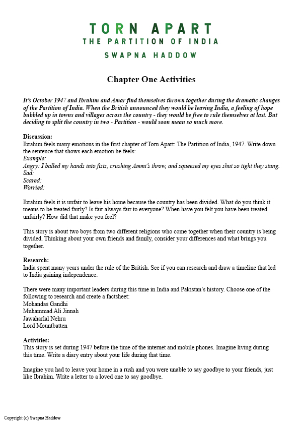 Torn Apart Chapter One Activities