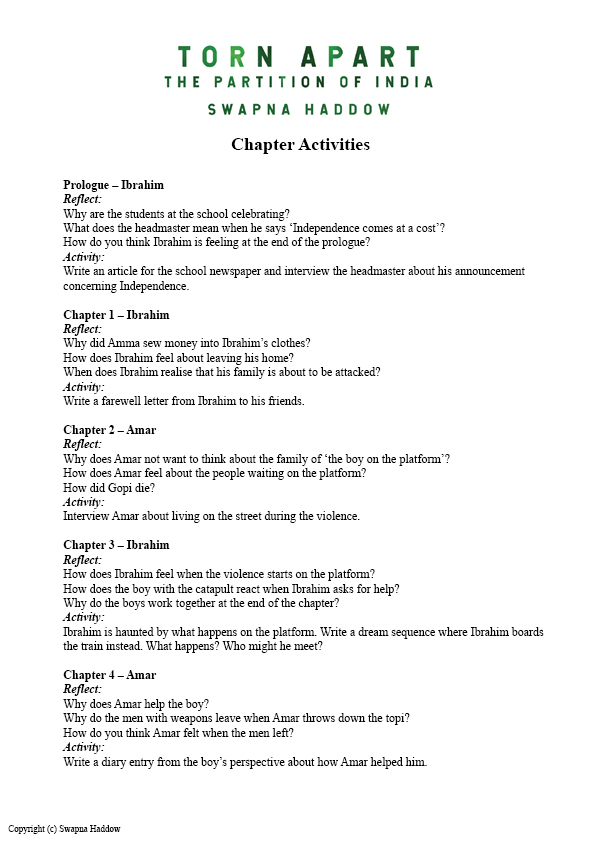 Torn Apart Chapter Notes and Activities